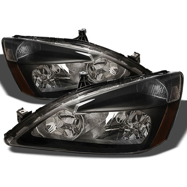 xTune HD-JH-HA03-AM-BK:  Honda Accord 03-07 Amber Crystal Headlights - Black