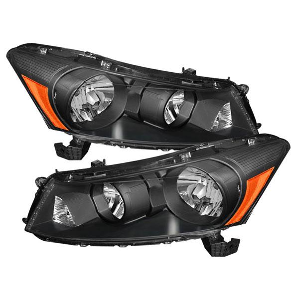 xTune HD-JH-HA08-AM-BK |  Honda Accord 4Dr Amber Crystal Headlights - Black; 2008-2012