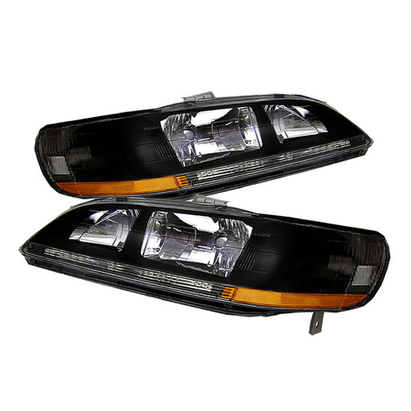 xTune HD-JH-HA98-AM-BK:  Honda Accord 98-02 Amber Crystal Headlights - Black