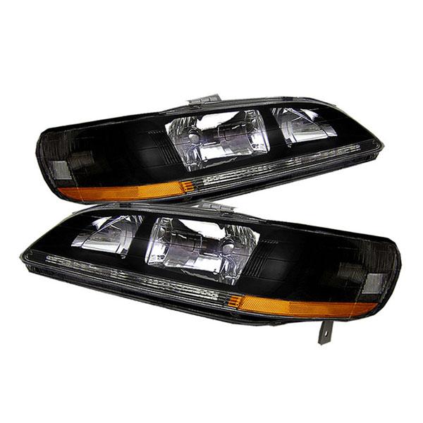 xTune HD-JH-HA98-AM-BK |  Honda Accord 98-02 Amber Crystal Headlights - Black