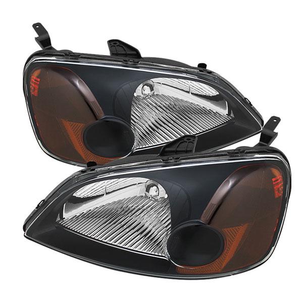 xTune HD-JH-HC01-AM-BK    Honda Civic 01-03 2/4Dr Amber Crystal Headlights - Black