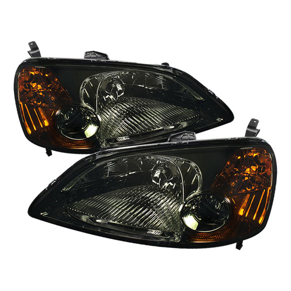 xTune HD-JH-HC01-AM-SM:  Honda Civic 01-03 2/4Dr Amber Crystal Headlights - Smoke
