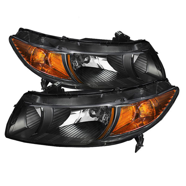 xTune HD-JH-HC06-2DR-AM-BK:  Honda Civic 06-11 2dr Amber Crystal Headlights - Black