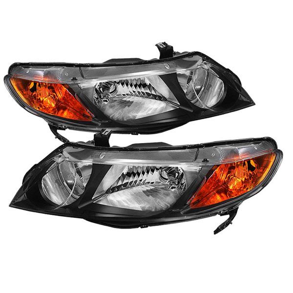 xTune HD-JH-HC06-4DR-AM-BK |  Honda Civic 4dr Crystal Headlights Amber- Black; 2006-2011