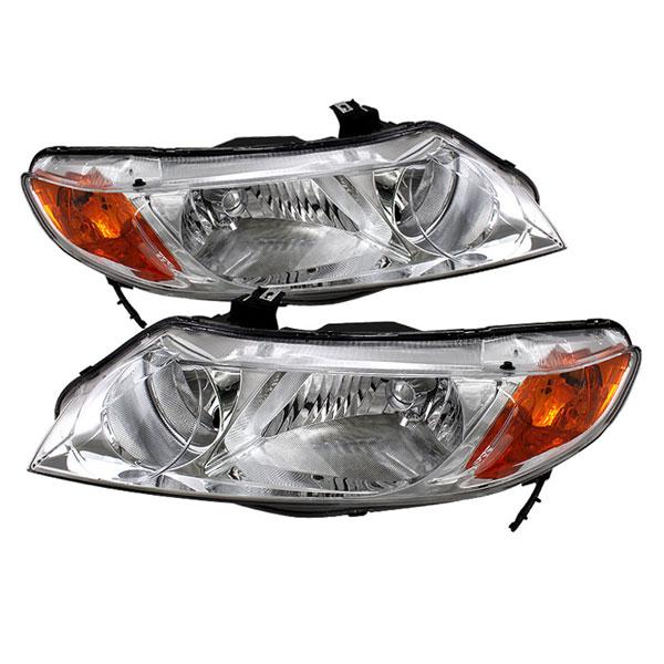 xTune HD-JH-HC06-4DR-AM-C    Honda Civic 06-11 4dr Crystal Headlights Amber- Chrome