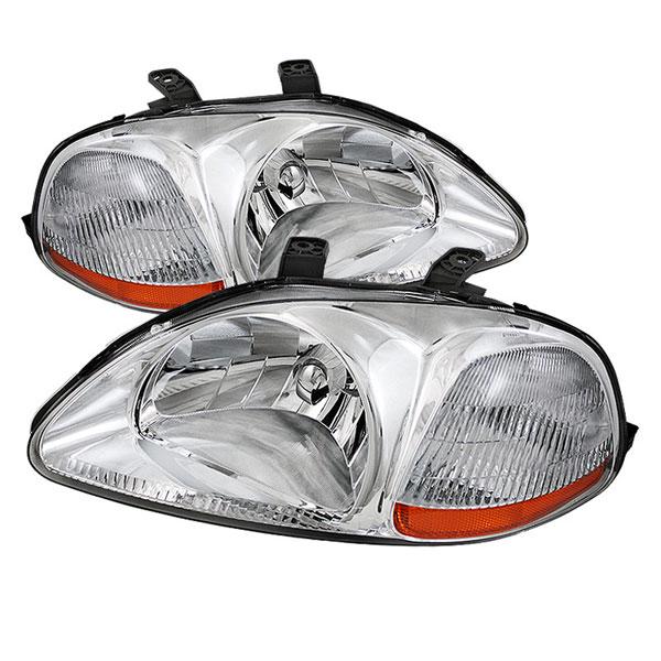 xTune HD-JH-HC96-AM-C |  Honda Civic 96-98 Amber Crystal Headlights - Chrome