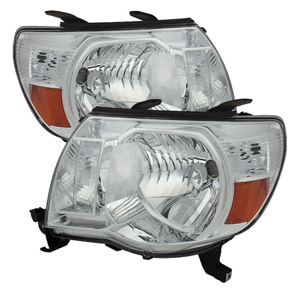 xTune HD-JH-TT05-AM-C |  Toyota Tacoma Amber Crystal Headlights - Chrome; 2005-2010