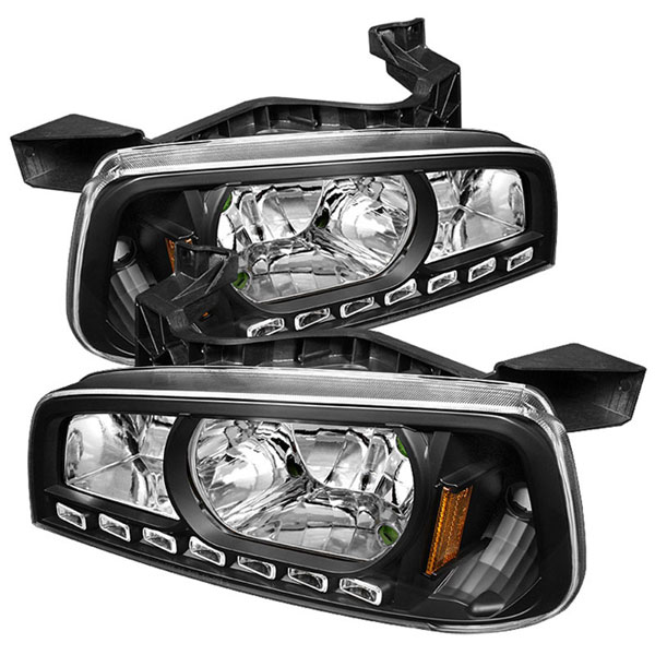 xTune HD-ON-DCH05-1PC-LED-BK |  Dodge Charger 1PC LED Crystal Headlights - Black; 2006-2010