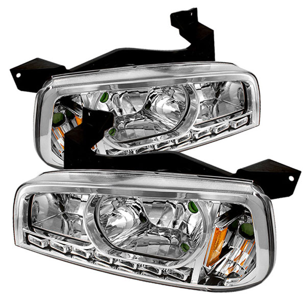 xTune HD-ON-DCH05-1PC-LED-C |  Dodge Charger 1PC LED Crystal Headlights - Chrome; 2006-2010