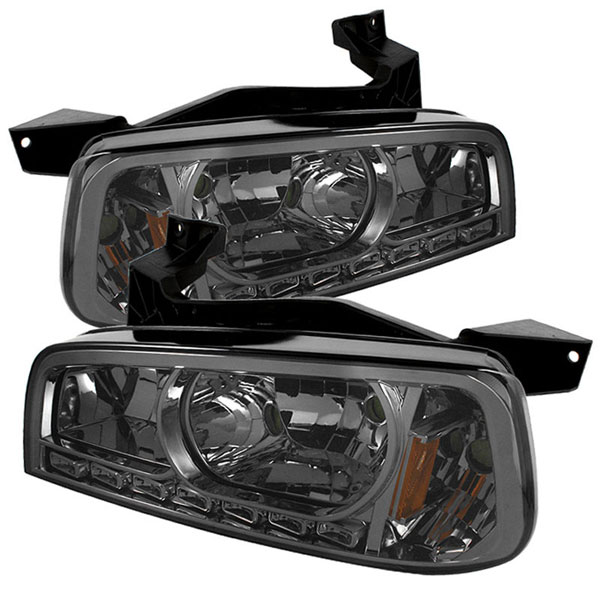 xTune HD-ON-DCH05-1PC-LED-SM:  Dodge Charger 06-10 1PC LED Crystal Headlights - Smoke