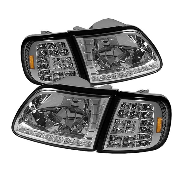 xTune HD-ON-FF15097-LED-SET-C |  Ford Expedition 97-02 ( Will Not Fit Anything Before Manu. Date June 1997 ) Crystal Headlights W/ Clear LED Corners - Chrome