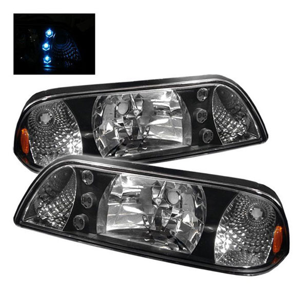 xTune (HD-ON-FM87-1P-LED-BK)  Ford Mustang 87-93 LED Crystal Headlights - Black