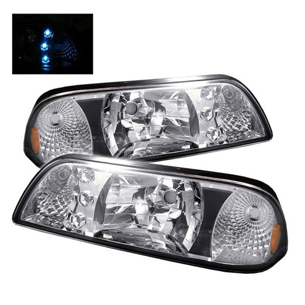 xTune HD-ON-FM87-1P-LED-C |  Ford Mustang 87-93 LED Crystal Headlights - Chrome