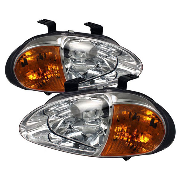xTune HD-ON-HDEL93-1P-AM-C:  Honda Del Sol 93-97 1PC Amber Crystal Headlights - Chrome