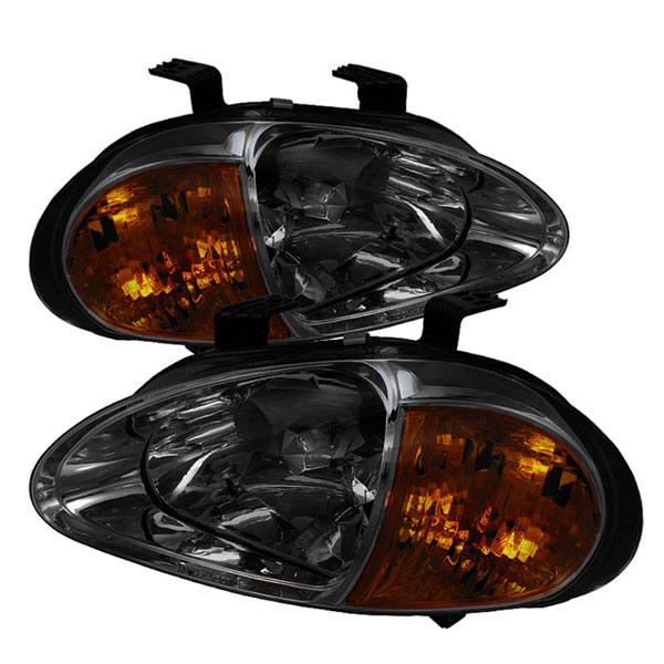 xTune (HD-ON-HDEL93-1P-AM-SM)  Honda Del Sol 93-97 1PC Amber Crystal Headlights - Smoke