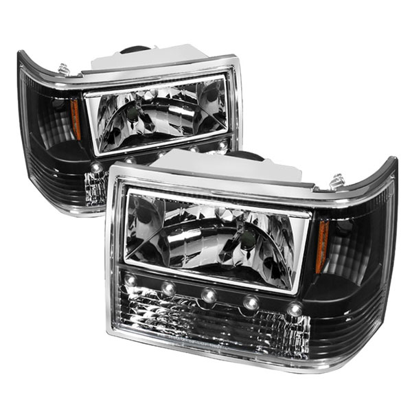 xTune HD-ON-JGC93-1PC-LED-BK |  Jeep Grand Cherokee 1PC Crystal Headlights - Black; 1993-1998