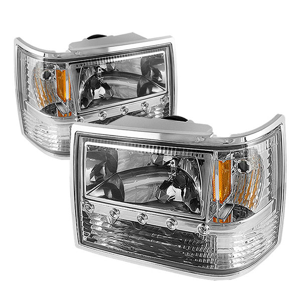 xTune HD-ON-JGC93-1PC-LED-C |  Jeep Grand Cherokee 1PC Crystal Headlights - Chrome; 1993-1998
