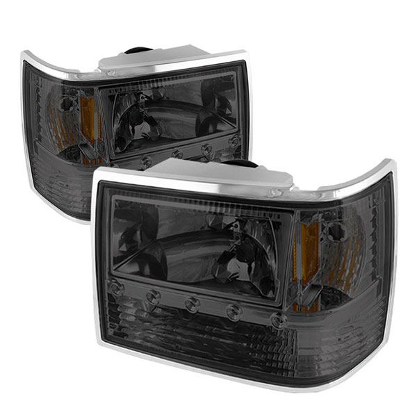 xTune HD-ON-JGC93-1PC-LED-SM:  Jeep Grand Cherokee 93-98 1PC Crystal Headlights - Smoke