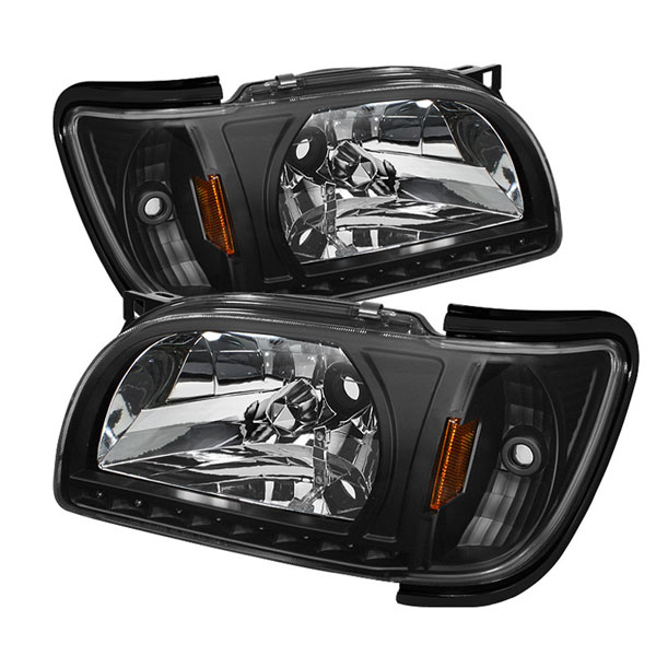 xTune HD-ON-TT01-1PC-LED-BK:  Toyota Tacoma 01-04 1 Piece with Black Trim Corner Crystal Headlights - Black