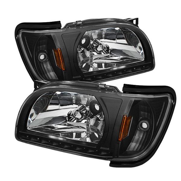 xTune HD-ON-TT01-1PC-LED-BK |  Toyota Tacoma 1-Piece with Black Trim Corner Crystal Headlights - Black; 2001-2004