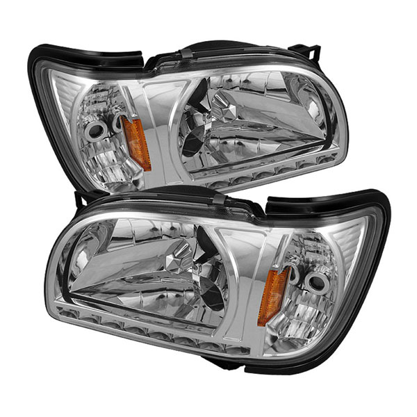 xTune HD-ON-TT01-1PC-LED-C:  Toyota Tacoma 01-04 1 Piece with Black Trim Corner Crystal Headlights - Chrome