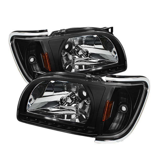xTune HD-ON-TT01-1PC-LED-CC-BK |  Toyota Tacoma 1-Piece with Chrome Trim Corner Crystal Headlights - Black; 2001-2004