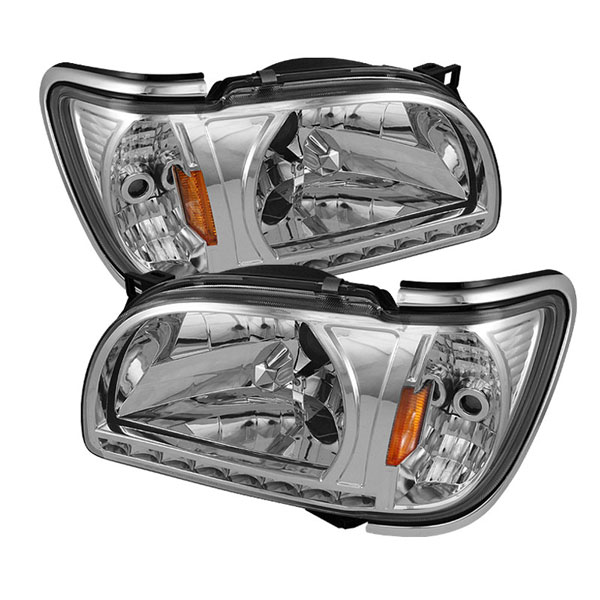 xTune HD-ON-TT01-1PC-LED-CC-C |  Toyota Tacoma 01-04 1 Piece with Chrome Trim Corner Crystal Headlights - Chrome