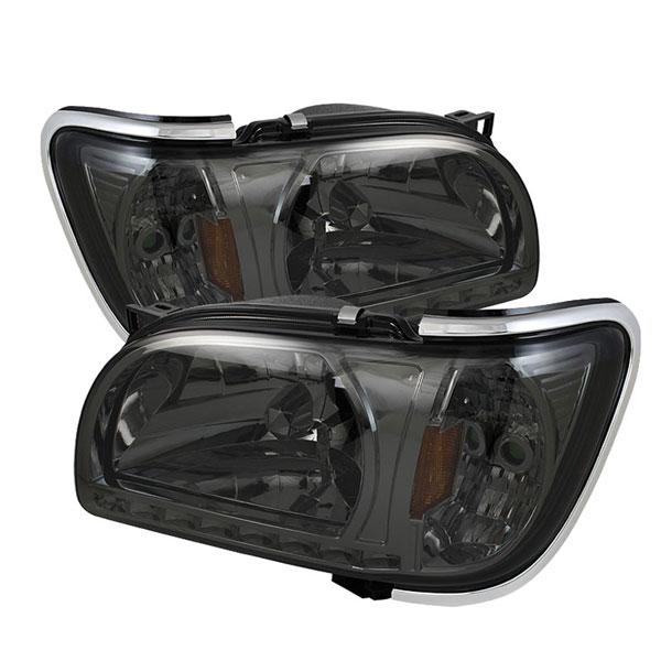 xTune HD-ON-TT01-1PC-LED-CC-SM |  Toyota Tacoma 1-Piece with Chrome Trim Corner Crystal Headlights - Smoke; 2001-2004