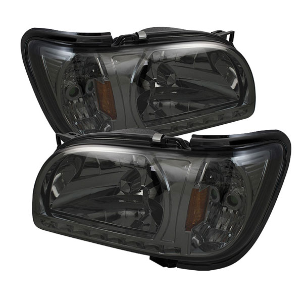 xTune HD-ON-TT01-1PC-LED-SM |  Toyota Tacoma 01-04 1 Piece with Black Trim Corner Crystal Headlights - Smoke