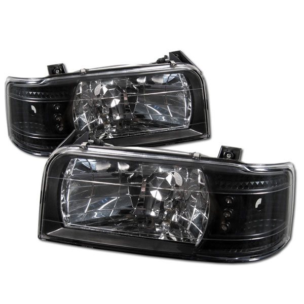 Spyder 5012494:  Ford Bronco 92-96 1PC LED ( Replaceable LEDs ) Crystal Headlights - Black  - (HD-YD-FB92-1PC-BK)