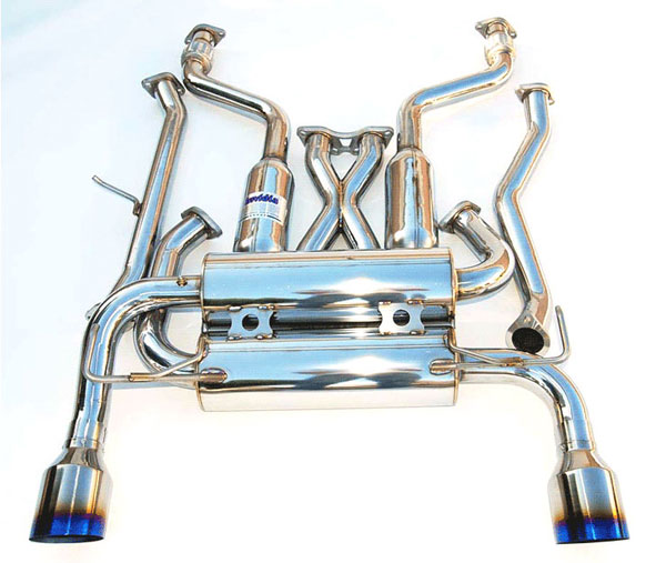 Invidia Exhausts HS03IFXGIT: INVIDIA FX35/45 GEMINI SINGLE LAYER TITANIUM TIPS CAT-BACK EXHAUST SYSTEM, 03-08