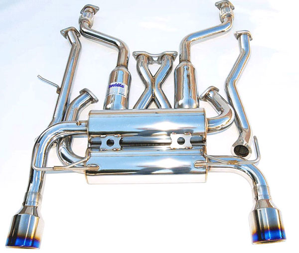 Invidia Exhausts HS09IFXGID: INVIDIA FX35/FX37 2/4WD GEMINI ROLLED TITANIUM TIPS CAT-BACK EXHAUST SYSTEM, 09-16