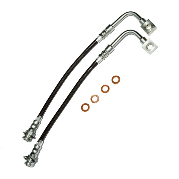J&M Products (22506) Firebird Brake Hose Kit W/Traction Control Front 98-02 Firebird Stainless Steel Charcoal - J&M Products