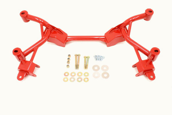 BMR Suspension KM006R | BMR K-member No Motor Mounts Factory Steering Camaro V8 Red; 1982-1992