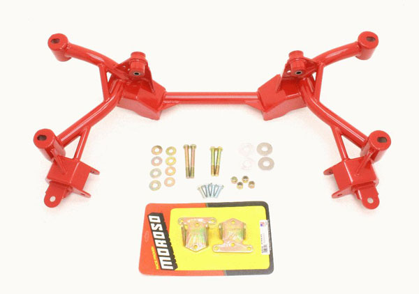 BMR Suspension KM007R | BMR K-member SBC/BBC Motor Mounts Factory Steering Firebird V8 Red; 1982-1992