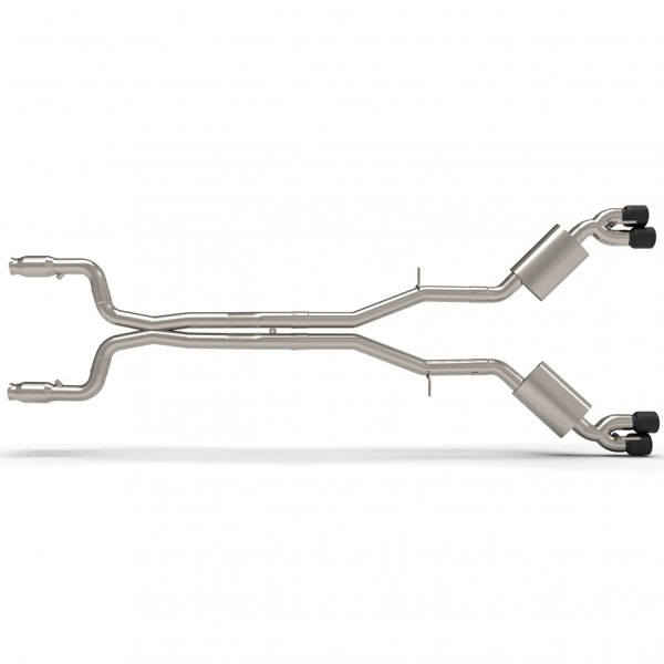 Kooks Headers 22605361 | Kooks Camaro SS / ZL1 GREEN CATTED Exhaust System with X-Pipe and Black Quad Tips; 2016-2018