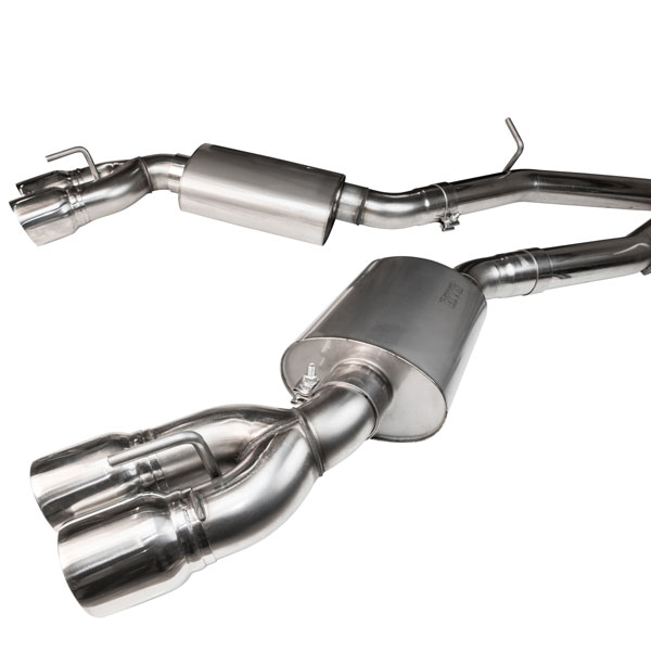 Kooks Headers 23125100 | Cadillac CTS-V LT4 6.2L Cat-back Exhaust with Off-Road X-Pipe, Oval Race Mufflers and Quad 4in Polished Slash Cut Tips for Kooks Headers; 2016-2017