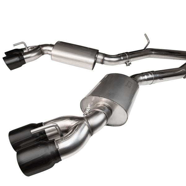 Kooks Headers 23125110 | Cadillac CTS-V LT4 6.2L 3in Exhaust System with 3in Off-Road X-Pipe Polished Oval Race Mufflers and Quad 4in Black Slash Cut Tips for Kooks Headers; 2016-2017