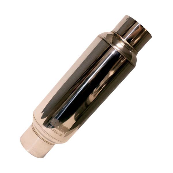 Kooks Headers R30014 | Universal 3in Round Muffler 14in Long. Polished Steel.