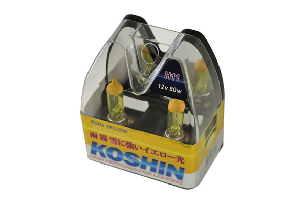 xTune (LB-KO-YELLOW-H11YE)  Koshin H11 Hyper Yellow Halogen Light Bulbs 12V 80W