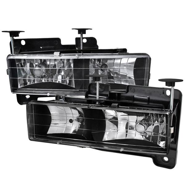 Spec-D Tuning LH-C1088JM-RS   Spec-D C10 Truck Headlights Black; 1988-1998