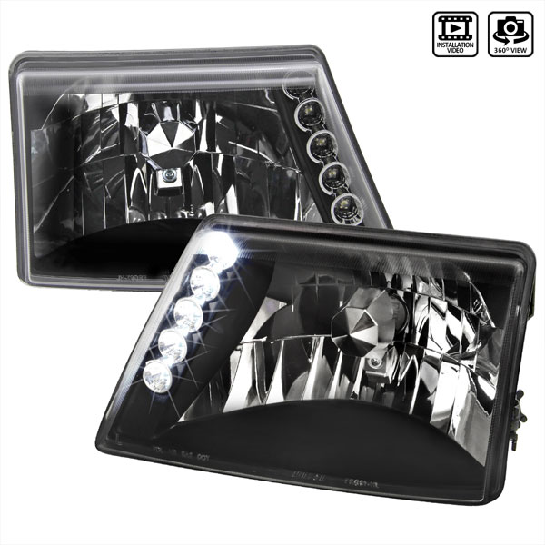 Spec-D Tuning LH-RAN98JM-TM | Spec-D Ford Ranger Led Headlights -Black; 1998-2001