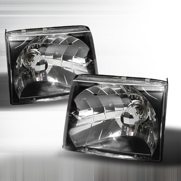 Spec-D Tuning LH-TAC97JM-KS: Spec-D 97-99 Toyota Tacoma Headlights - Black