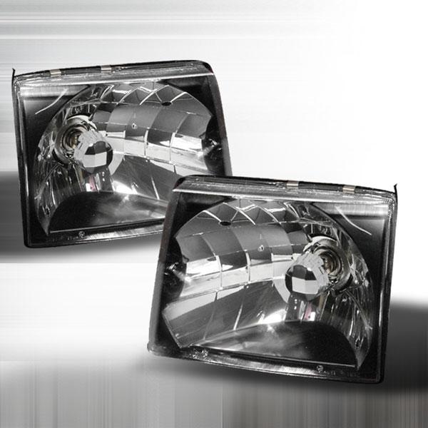 Spec-D Tuning LH-TAC97JM-KS | Spec-D Toyota Tacoma Headlights - Black; 1997-1999