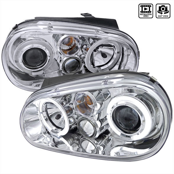 Spec-D Tuning LHP-GLF99-TM | Spec-D 99-03 Vw Golf Projector Headlights Chrome