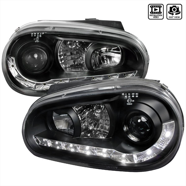 Spec-D Tuning LHP-GLF99JM-8-TM: Spec-D 99-03 Vw Golf Projector Headlights