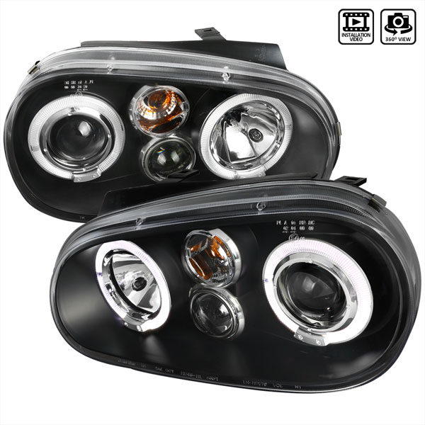 Spec-D Tuning LHP-GLF99JM-TM | Spec-D Vw Golf Projector Headlights Black; 1999-2003