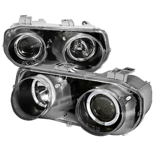 Spec-D Tuning LHP-INT94JM-KS |  Acura Integra Halo Projector Headlights Black; 1994-1997