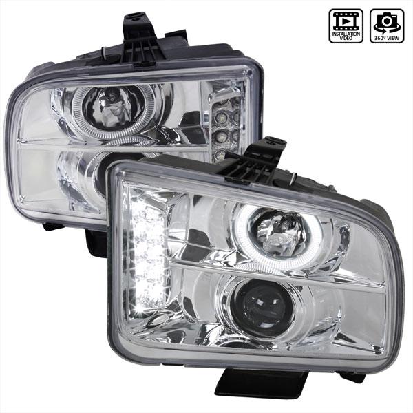 Spec-D Tuning LHP-MST05-TM | Spec-D Ford Mustang Projector Headlights V6; 2005-2009