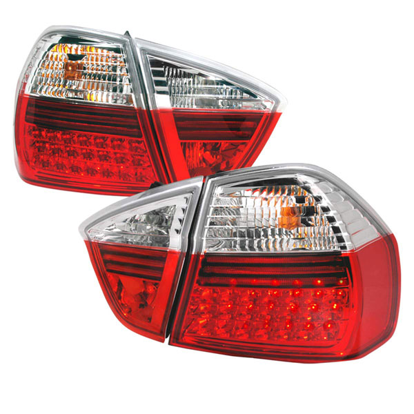 Spec-D Tuning LT-E9005RLED-APC: Spec-D 05-up Bmw E90 4d Led Taillights - Red (lt-e9005rled-apc)